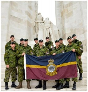 The Royal Montreal Regiment 2014 Nijmegen Team at the Canadian National Vimy Memorial (from left to right): Cpl Schneider, Pte Andrews-Jackson, Cpl De Chantal-Thivierge, Capt Delplace, Cpl Gomola, Cpl David, Cpl Deraspe, MCpl Parnell, WO Langlois, Sgt El-Khoury, Cpl McLeod.