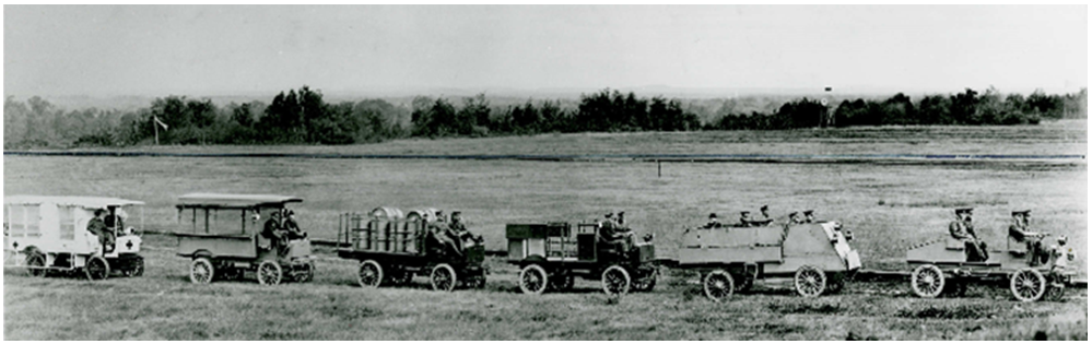 Vehicles of the First Contingent A convoy of six different motor vehicles passes in review at Rockcliffe, Ottawa. A variety of vehicles equipped the First Canadian Contingent. Some were very good, but repeated breakdowns in England revealed an uncertain supply of spare parts. The Canadians were soon re-equipped with British kit, weapons, and vehicles.