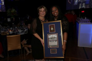 Comrade Sue Guerin (Left) accepting the RMR Foundation's 'thank you' gift for supporting the Gala