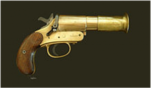 "Webley & Scott Mk III flare pistol British Army, dated 1918; 1"" (25.4mm) calibre"
