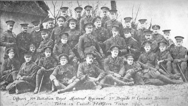 Officers, 14th Battalion, Royal Montreal Regiment, 3rd Brigade, 1st Canadian Division Taken in Cassels, Flanders, France, 12/4/15