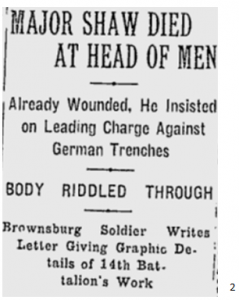 Wounded officer leading charge against German trenches