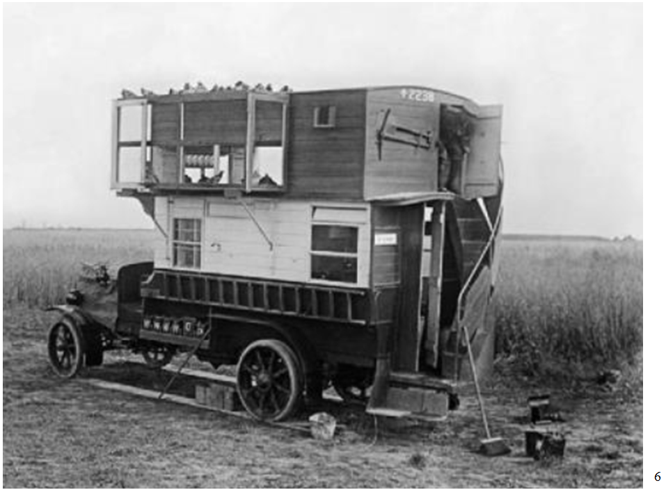 A former London double-decker bus converted to a mobile pigeon coop.