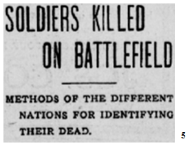 """Soldiers Killed on Battlefield,"" The Quebec Chronicle, Quebec City, Thursday, July 29 1915, pg. 3, col.  3."