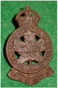 WW1 Cap badge of The Royal Montreal Regiment (RMR)