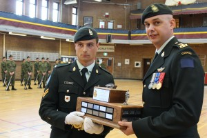 Corporal Jean-Philippe Vallières receiving his trophy from Honorary Lieutenant-Colonel Colin Robinson, CD - 03 May 2015