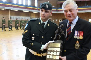 Corporal Joseph David receiving his trophy from His Worship Peter Trent, Mayor of Westmount - 03 May 2015
