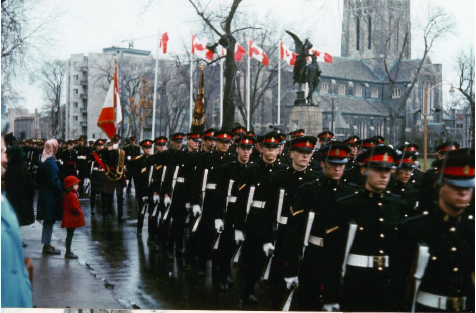 RMR parading from Westmount cenotaph in patrol blues