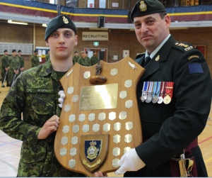 Private De Lutis being presented his award by the CO RMR, LCol Paul Langlais, MSC, CD - 03 May 2015