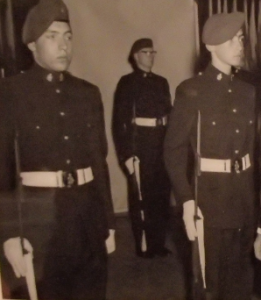 RMR soldiers wearing patrol blues uniform with white ceremonial belt