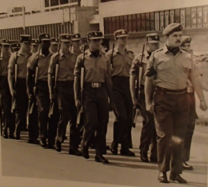 RMR leading 1972 Dieppe memorial parade wearing workdress and ascots