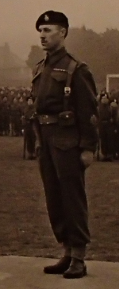 RSM Mitchell on parade in 1943 wearing battle dress and bullion capbadge