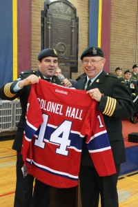 Honorary Colonel Molson presenting retirement gift to Honorary Colonel Hall