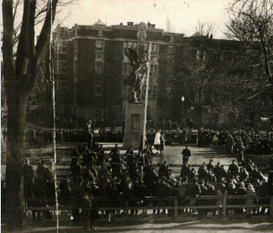 2nd Battalion RMR at Westmount cenotaph during WW2