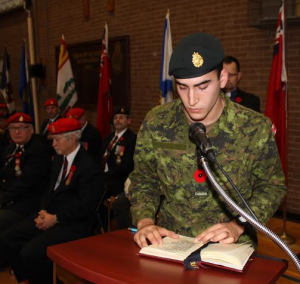 Reading from the RMR's Roll of Honour