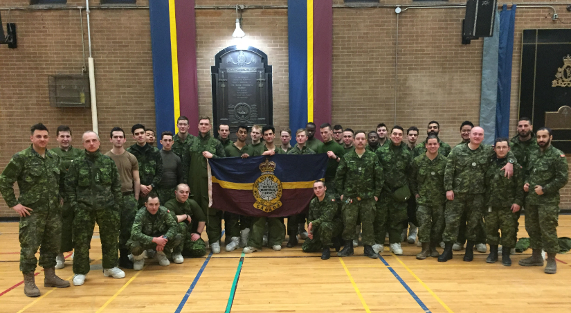 9 Platoon and Company HQ folks back in the warmth of the RMR's armoury