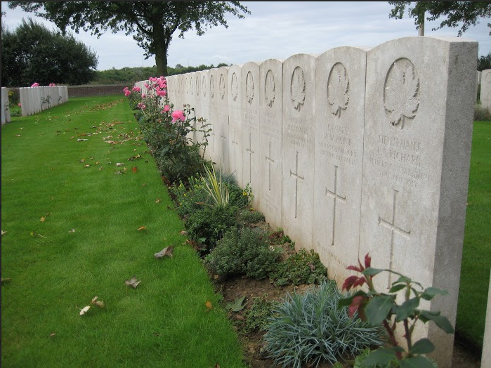 Plot 1, row A of the Nine Elms Military Cemetery contains 80 of the 98 RMR soldiers killed on 09 April 1917