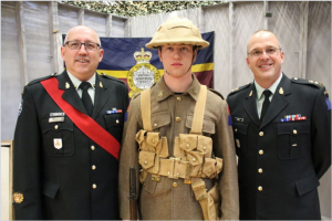 RMR CO and RSM posing with a soldier in period dress. Photo credit: Corporal Yeung