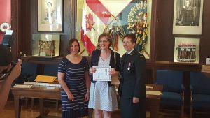 Former 2806 cadet receiving her Army Cadet Long Service Medal