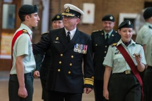 RAdm Hawco reviewing the RCACC 2806 50th anniversary ACR parade