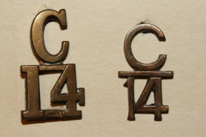 14th Batt. collar numerals.