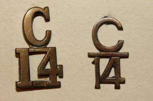 14th Batt. collar numerals.