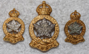 officer cap and collar insignia, gilt/silver, 1940s-1960s