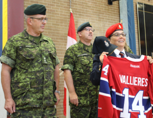 L->R: CO, LCol Denis, RSM, CWO Cochrane, and RMR Association President, Cde Guerin